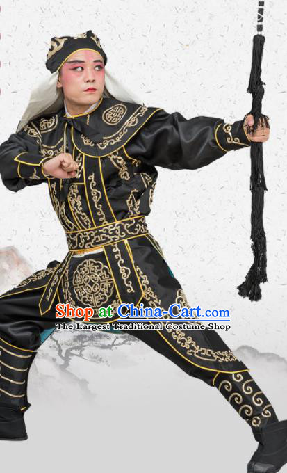 Chinese Traditional Peking Opera Takefu Costume Ancient Soldier Black Clothing for Adults