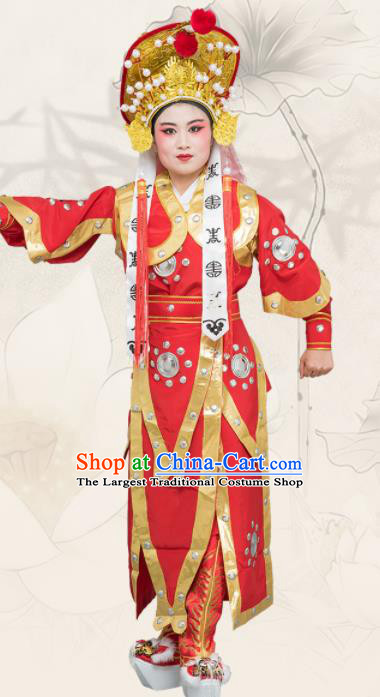 Chinese Traditional Peking Opera Takefu Costume Ancient Soldier Red Clothing for Adults