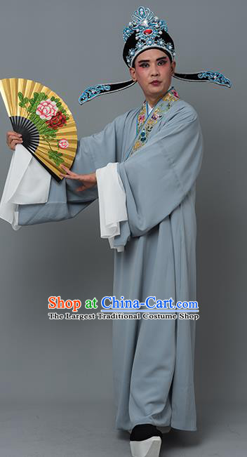 Chinese Traditional Peking Opera Niche Costume Ancient Gifted Scholar Grey Robe for Adults