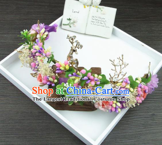 Top Grade Handmade Wedding Hair Accessories Deer Hair Stick Headwear for Women