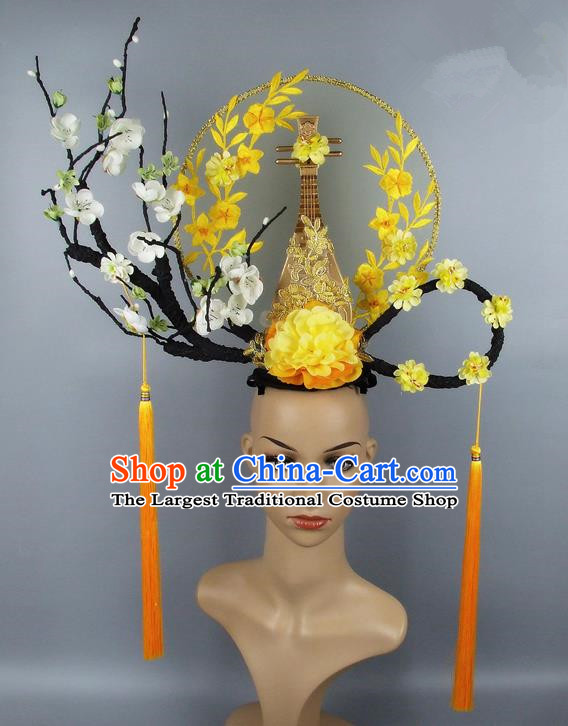 Handmade Halloween Golden Lute Hair Accessories Chinese Stage Performance Hair Clasp Headdress for Women