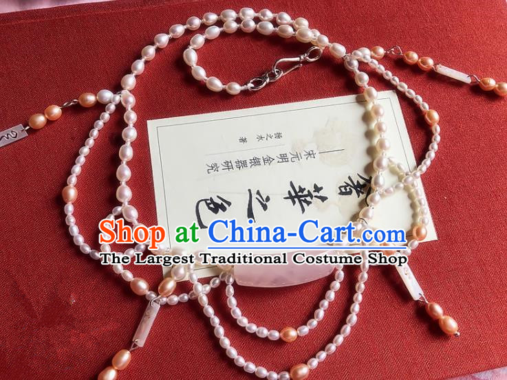 Chinese Traditional Wedding Pearls Necklace Ancient Handmade Jade Necklet for Women
