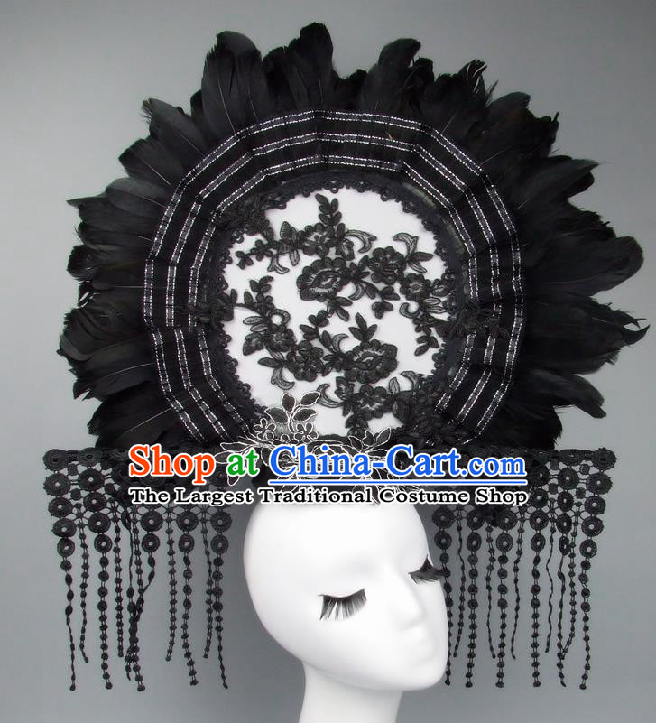 Handmade Halloween Cosplay Black Feather Hair Accessories Chinese Stage Performance Hair Clasp Headdress for Women