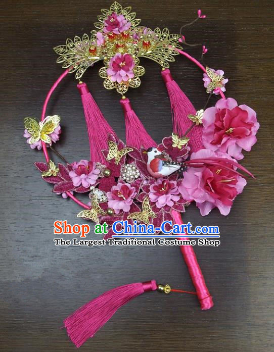 Chinese Traditional Wedding Bride Round Fans Ancient Handmade Palace Fans for Women