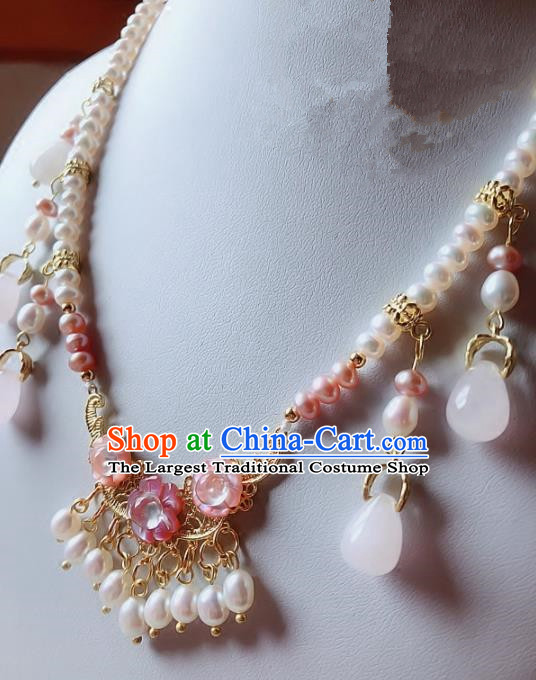 Chinese Traditional Handmade Hanfu Pearls Tassel Necklace Ancient Queen Necklet for Women