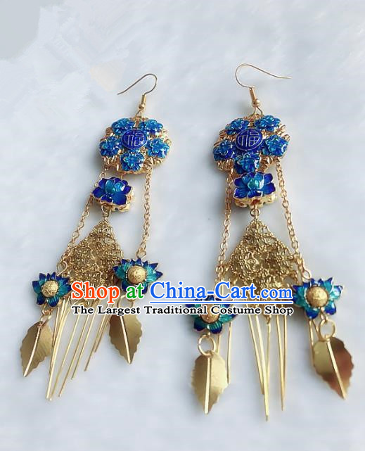 Top Grade Chinese Handmade Jewelry Accessories Blueing Lotus Earrings for Women