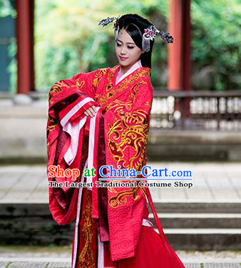 Chinese Traditional Wedding Red Hanfu Dress Ancient Han Dynasty Princess Embroidered Costumes and Headpiece for Women