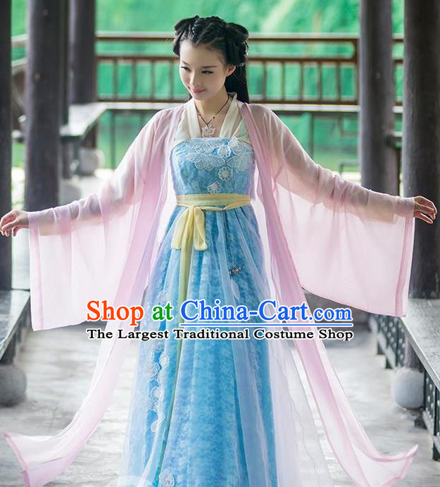 Chinese Traditional Princess Hanfu Dress Ancient Peri Fairy Embroidered Costumes for Women