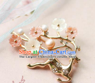 Traditional Chinese Handmade Brooch Ancient Deer Breastpin Accessories for Women