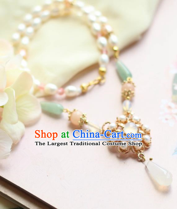Traditional Chinese Handmade Pearls Necklace Ancient Jade Necklet Accessories for Women