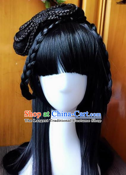 Chinese Ancient Hanfu Wigs Sheath Hair Accessories Traditional Princess Chignon for Women