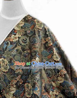 Asian Chinese Traditional Tang Suit Fabric Black Satin Brocade Silk Material Classical Pattern Design Drapery