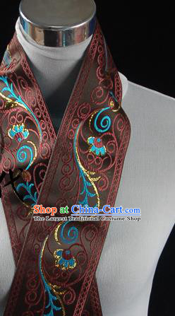 Traditional Chinese Handmade Brocade Belts Ancient Brown Brocade Embroidered Lace Trimmings Accessories