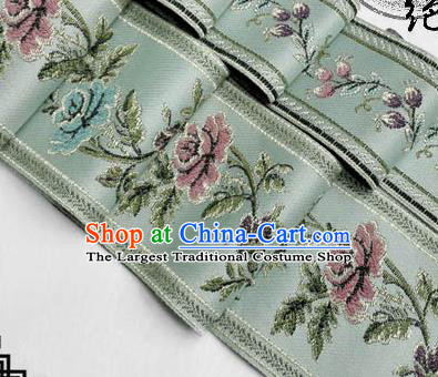 Traditional Chinese Handmade Brocade Belts Ancient Blue Brocade Embroidered Peony Lace Trimmings Accessories