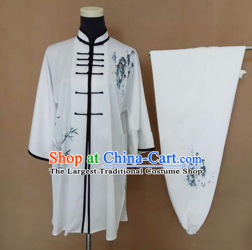 Chinese Traditional Martial Arts Printing Bamboo Costumes Tai Chi Tai Ji Training Clothing for Adults