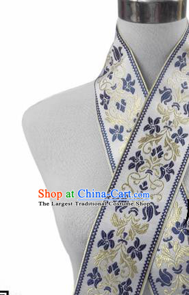 Traditional Chinese Handmade White Brocade Belts Ancient Embroidered Brocade Lace Trimmings Accessories