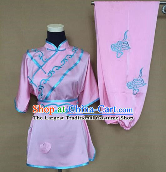 Chinese Traditional Kung Fu Martial Arts Embroidered Pink Costumes Tai Chi Training Clothing for Women