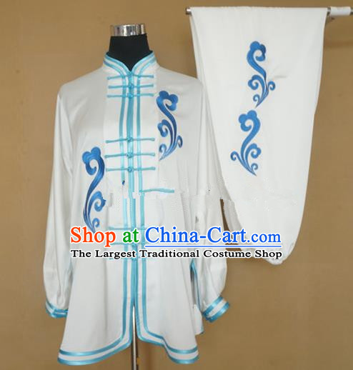 Chinese Traditional Kung Fu Embroidered White Costumes Martial Arts Tai Chi Training Clothing for Women