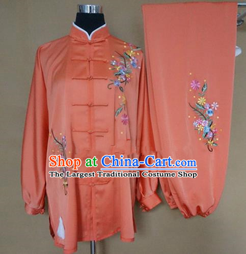 Chinese Traditional Kung Fu Embroidered Orange Costumes Martial Arts Tai Chi Training Clothing for Women