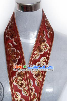 Traditional Chinese Handmade Wine Red Brocade Belts Ancient Embroidered Brocade Lace Trimmings Accessories