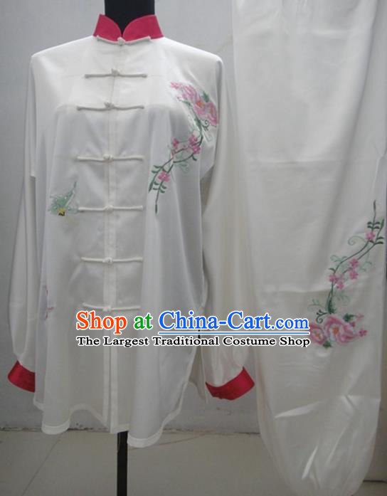 Chinese Traditional Kung Fu Silk Costumes Martial Arts Tai Chi Training Embroidered Rose Clothing for Women