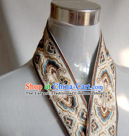 Traditional Chinese Handmade Beige Brocade Belts Ancient Embroidered Brocade Lace Trimmings Accessories