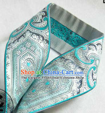 Traditional Chinese Handmade Blue Brocade Belts Ancient Embroidered Brocade Lace Trimmings Accessories