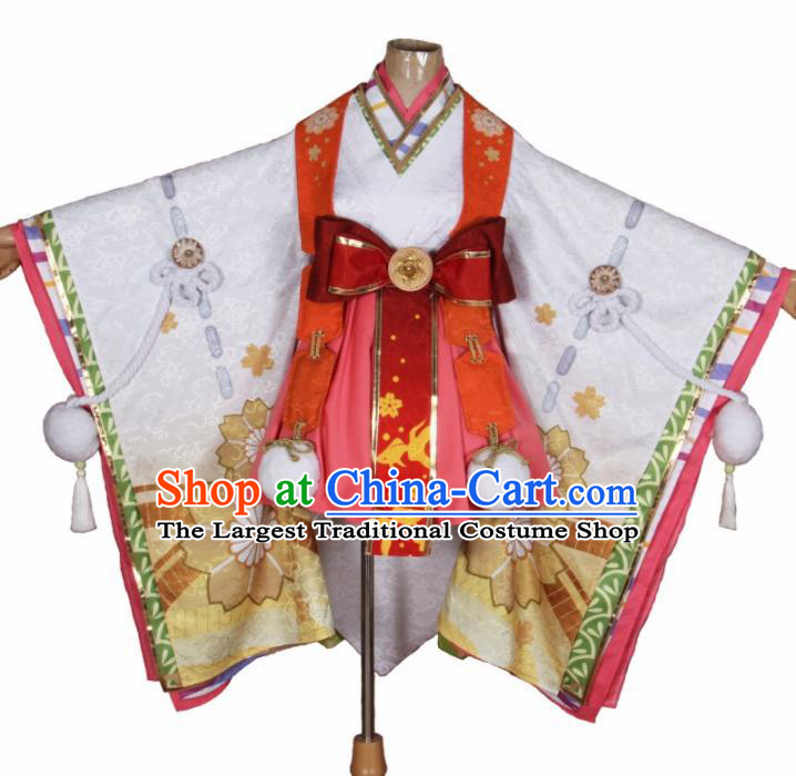 Asian Japanese Traditional Young Lady Cosplay Costumes Ancient Furisode Kimono Yukata Clothing for Women