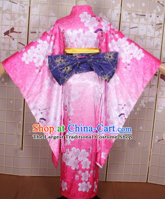 Asian Japanese Traditional Cosplay Costumes Ancient Yokime Furisode Kimono Yukata Clothing for Women