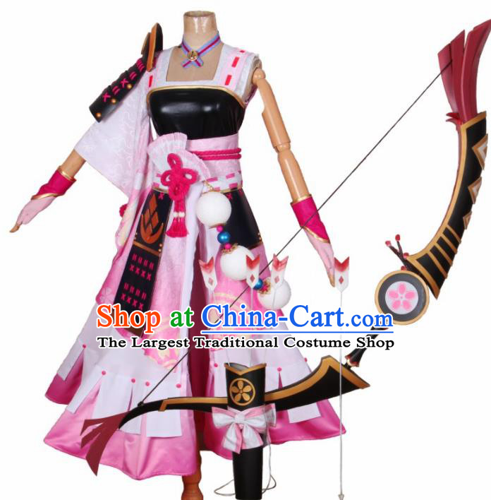 Chinese Traditional Cosplay Swordswoman Costumes Cheongsam Pink Qipao Dress for Women
