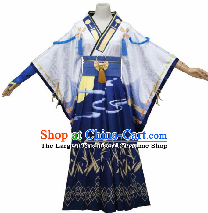Asian Traditional Cosplay Costumes Japanese Ancient Blue Furisode Kimono Yukata Clothing for Women