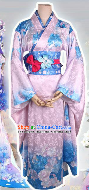 Asian Japanese Traditional Costumes Pink Furisode Kimono Ancient Cosplay Geisha Yukata Clothing for Women