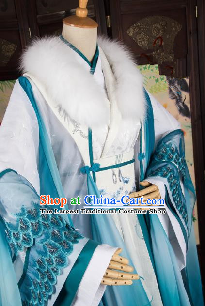 Traditional Chinese Handmade Cosplay Swordswoman Costumes Ancient Han Dynasty Queen Hanfu Dress for Women