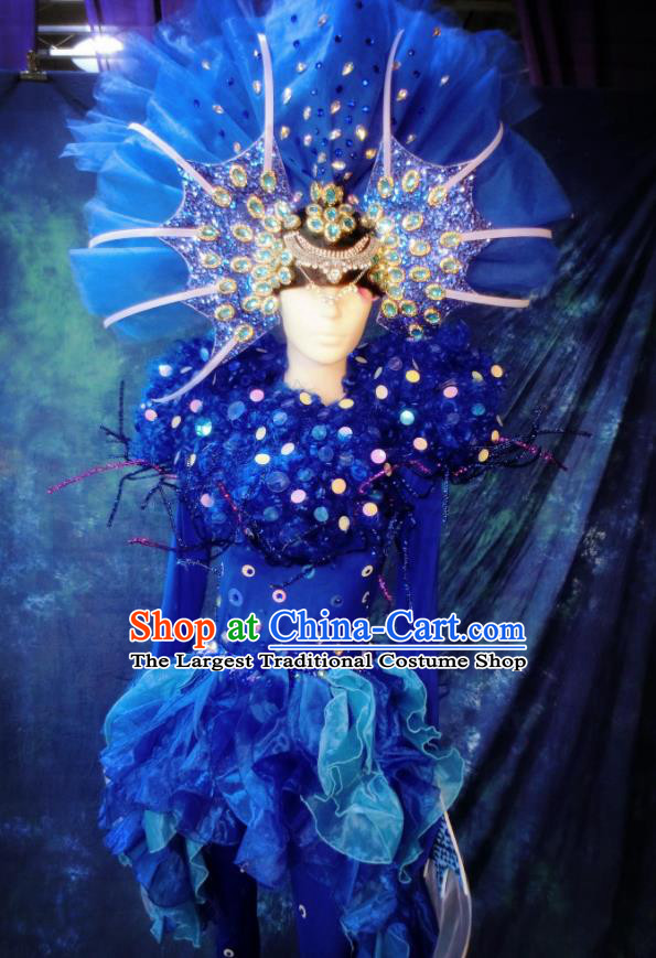 Top Grade Stage Performance Costumes Sea World Cosplay Blue Clothing and Headdress for Women