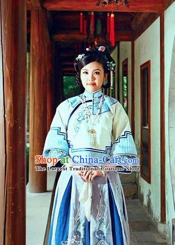 Chinese Traditional Ancient Qing Dynasty Costumes Nobility Mistress Embroidered Clothing for Women