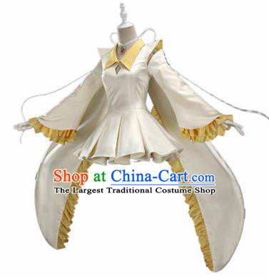 Top Grade Cosplay Princess Costumes Halloween Cartoon Characters White Dress for Women