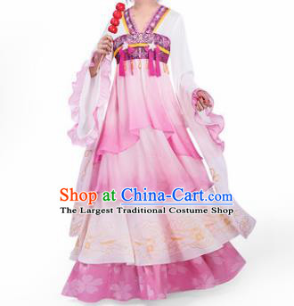 Chinese Traditional Cosplay Princess Costumes Ancient Peri Pink Hanfu Dress for Women