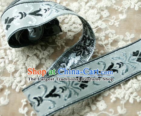 Traditional Chinese Handmade Blue Brocade Belts Ancient Embroidered Lotus Brocade Lace Trimmings Accessories