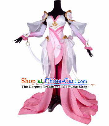 Top Grade Chinese Cosplay Fairy Princess Costumes Halloween Cartoon Characters Pink Dress for Women