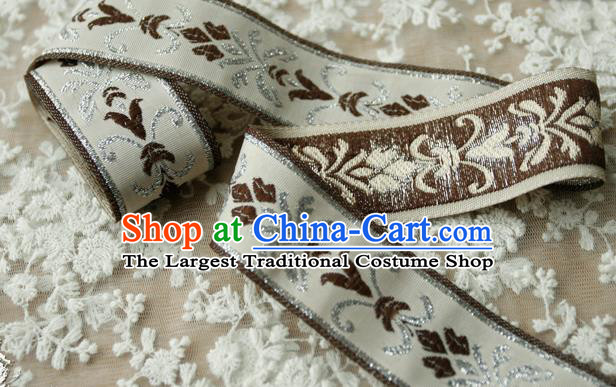 Traditional Chinese Handmade Brown Brocade Belts Ancient Embroidered Lotus Brocade Lace Trimmings Accessories