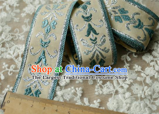 Traditional Chinese Handmade Beige Brocade Belts Ancient Embroidered Lotus Brocade Lace Trimmings Accessories