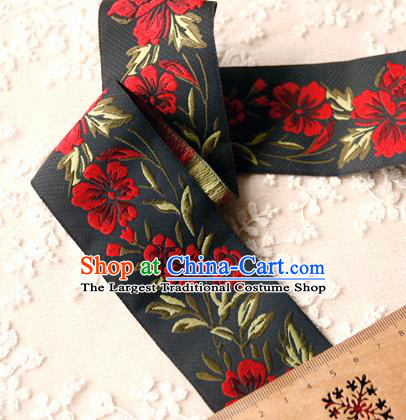 Traditional Chinese Handmade Black Brocade Belts Ancient Embroidered Peony Brocade Lace Trimmings Accessories