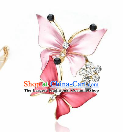Japanese Traditional Courtesan Kimono Pink Butterfly Brooch Ancient Geisha Accessories for Women