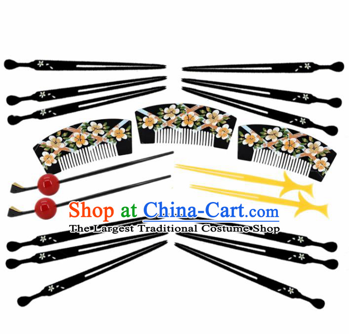 Japanese Traditional Courtesan Kimono Hair Combs Hairpins Ancient Geisha Hair Accessories Complete Set for Women