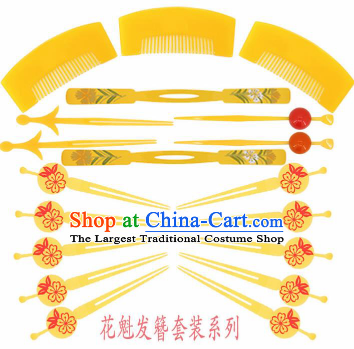 Japanese Traditional Courtesan Kimono Hairpins Hair Combs Ancient Geisha Hair Accessories Complete Set for Women