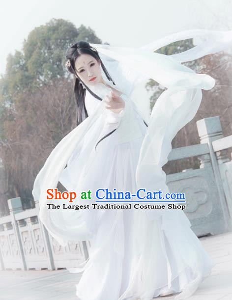 Chinese Traditional Ancient Swordswoman Embroidered Costumes Cosplay Peri Princess White Hanfu Dress for Women