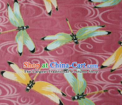 Asian Japanese Traditional Kimono Pink Brocade Fabric Silk Material Classical Dragonfly Pattern Design Drapery