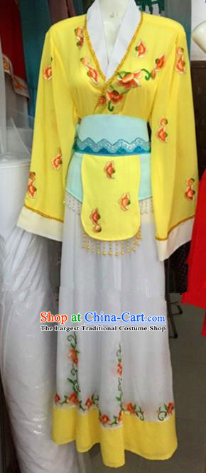 Chinese Traditional Peking Opera Maidservants Yellow Dress Ancient Young Lady Embroidered Costumes for Poor