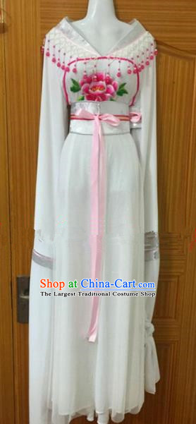 Chinese Traditional Peking Opera Peri White Dress Ancient Maidservants Embroidered Costumes for Women