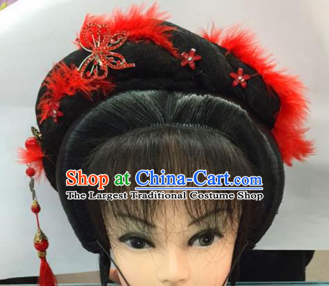 Chinese Traditional Ancient Beijing Opera Bride Wig Sheath and Hairpins Hair Accessories for Women
